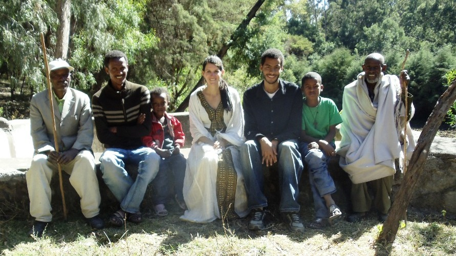 Brittany Franck with local students during her time in Peace Corps